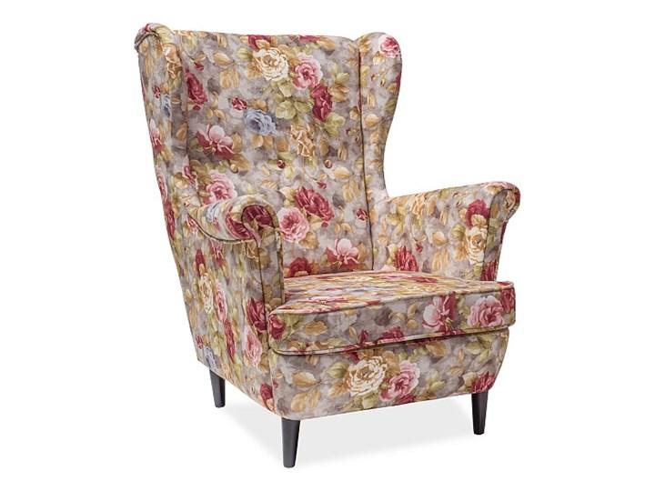 Fotel Uszak Lord Coral WM25 Głębokość 56 cm Styl Glamour Drewno Wysokość 101 cm Tworzywo sztuczne Fotel pikowany Tkanina Wysokość 41 cm Szerokość 83 cm Pomieszczenie Salon