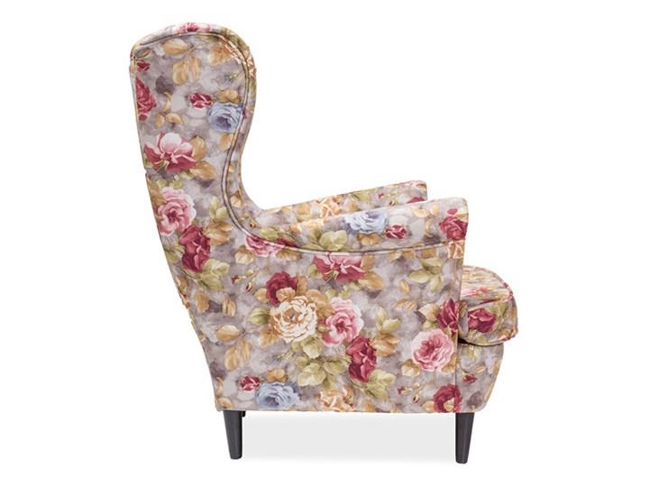 Fotel Uszak Lord Coral WM25 Tkanina Głębokość 56 cm Wysokość 101 cm Szerokość 83 cm Fotel pikowany Tworzywo sztuczne Wysokość 41 cm Drewno Styl Klasyczny