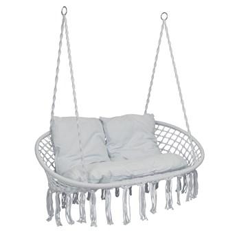 Krzesło fotel wiszący huśtawka LAGOS szare z poduszkami