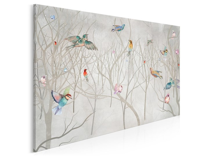 Leśny chór - nowoczesny obraz do sypialni - 120x80 cm Pomieszczenie Kuchnia Wzór Kwiaty