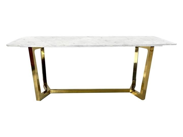 Stół ROSETA GLAMUR Marmur Złoto 200 x 100 Szerokość 100 cm Wysokość 75 cm Stal Długość 200 cm  Kształt blatu Prostokątny