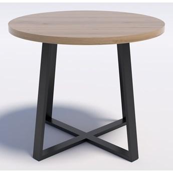 Stół z dębowym blatem okrągły RING X 90 Dąb lity rustykalny