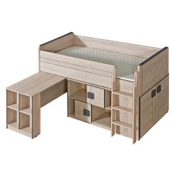 GM19 Łóżko piętrowe z biurkiem i szafką COMI dąb santana + popiel