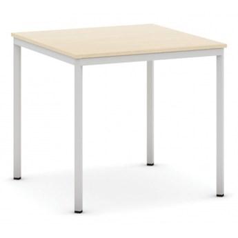 Stół do jadalni i stołówki, jasnoszara konstrukcja, 800x800 mm, dąb