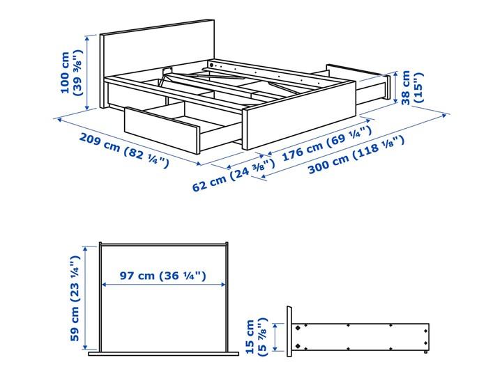 IKEA MALM Rama łóżka z 4 pojemnikami, Brązowa bejca okleina jesionowa, 160x200 cm Drewno Łóżko drewniane Kolor Szary