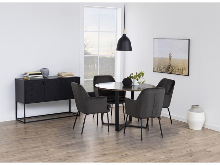 Stół Hagley Ø110 cm brązowy Drewno Szerokość 75 cm Metal Pomieszczenie Stoły do jadalni Wysokość 75 cm Marmur Rozkładanie
