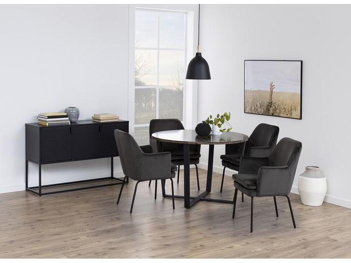 Stół Hagley Ø110 cm brązowy Wysokość 75 cm Szerokość 75 cm Marmur Drewno Metal Rozkładanie Pomieszczenie Stoły do jadalni