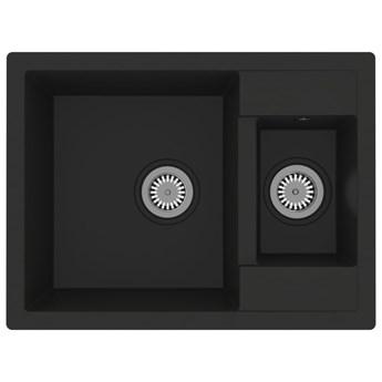 VidaXL Zlew kuchenny z otworem przelewowym, 2 komory, czarny, granit