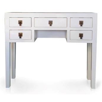 Konsola w stylu azjatyckim, trzy szuflady, metalowe okucia, kolor biały matowy.