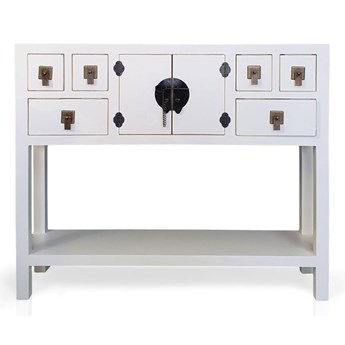 Konsola  w stylu azjatyckim, szuflady, półka, metalowe okucia, biały mat.