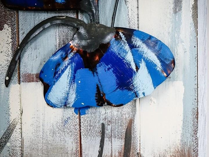 Obraz metalowy 3D Loftowy NIEBIESKIE KWIATY Kolor Szary Pomieszczenie Salon