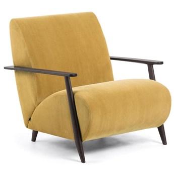 Fotel Meghan musztardowy sztruks i nogi z litego drewna jesionowego wenge