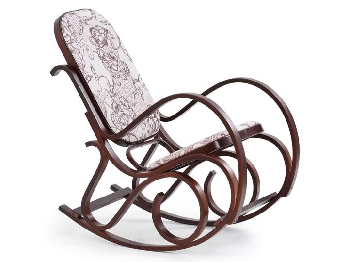 Drewniany fotel bujany w kolorze Wenge - Dixel Drewno Kolor Szary Głębokość 90 cm Wysokość 95 cm Kategoria Fotele do salonu