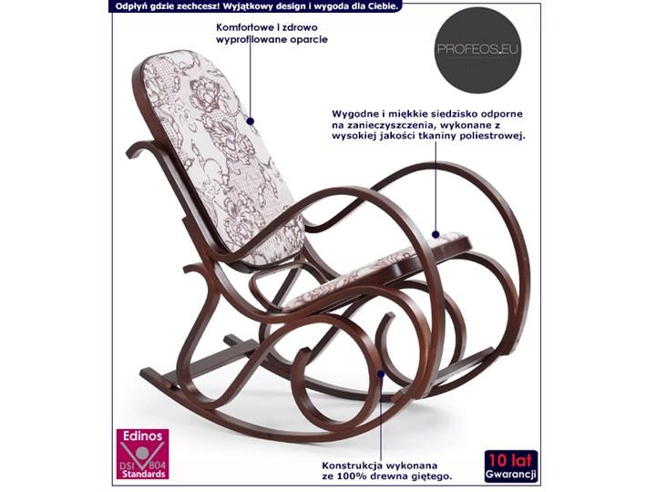 Drewniany fotel bujany w kolorze Wenge - Dixel Głębokość 90 cm Wysokość 95 cm Pomieszczenie Salon Drewno Kolor Szary