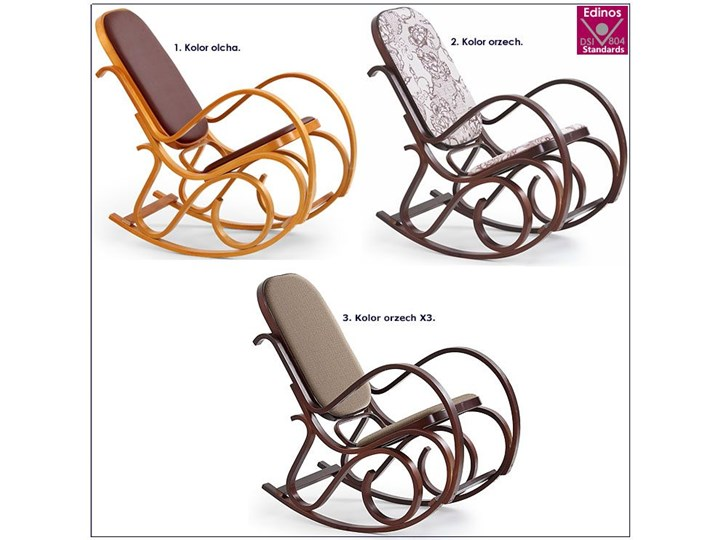 Drewniany fotel bujany w kolorze Wenge - Dixel Wysokość 95 cm Drewno Głębokość 90 cm Kolor Szary