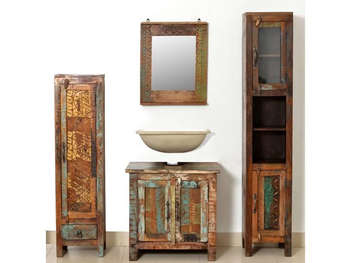 vidaXL Zestaw mebli łazienkowych z drewna odzyskanego, lustro i 2 szafki Drewno Kategoria Zestawy mebli łazienkowych