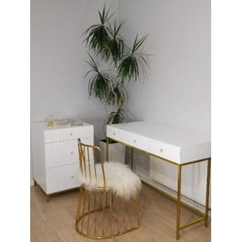Zestaw złoty Bella toaletka, komoda i krzesło