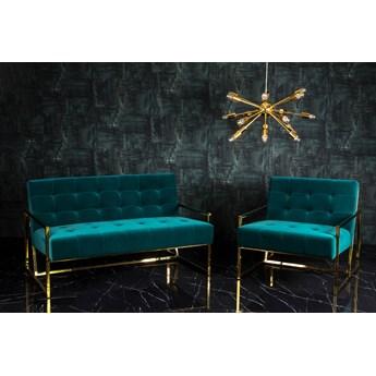 Zestaw Fotel + Kanapa złoty mosiężny zielony Gabi Green