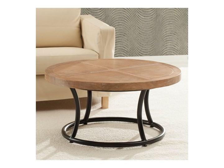 Stolik okrągły Kendari natural 90cm, 90 × 46 cm Drewno Styl Nowoczesny Metal Styl Industrialny
