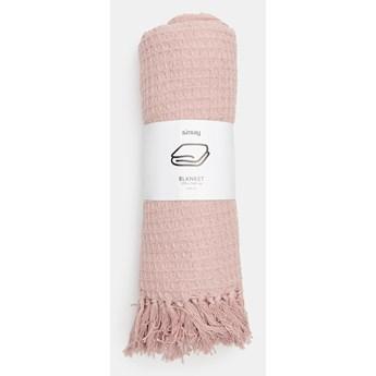 Sinsay - Koc bawełniany z frędzlami - Różowy
