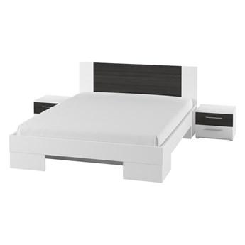 Łóżko + stoliki nocne 160x200 VERA VE81 biały / orzech czarny
