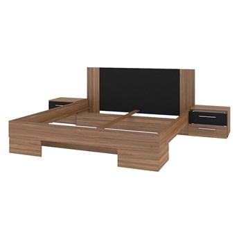 Łóżko + stoliki nocne 180x200 VERA VE82 orzech czerwony / czarny