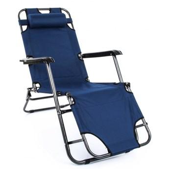 Leżak ogrodowy składany Krzesło na taras Kolor granatowy