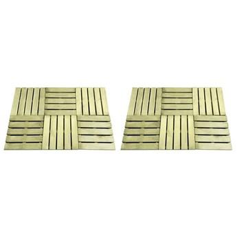 VidaXL Płytki tarasowe, 12 szt., 50 x 50 cm, drewno, zielone