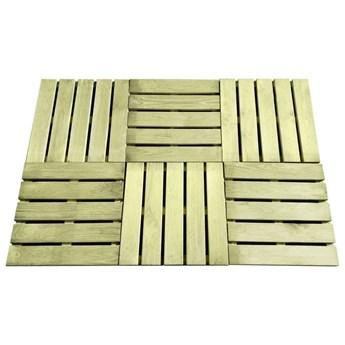 VidaXL Płytki tarasowe, 6 szt., 50 x 50 cm, drewno, zielone