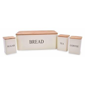 4 SZT. ZESTAW chlebaka i metalowych pojemników TEA, COFFEE, SUGAR kremowy
