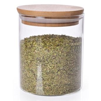 Szklany pojemnik z bambusową pokrywką BAMBOO & BOROSIL GLASS GoEco® pojemność 450 ml
