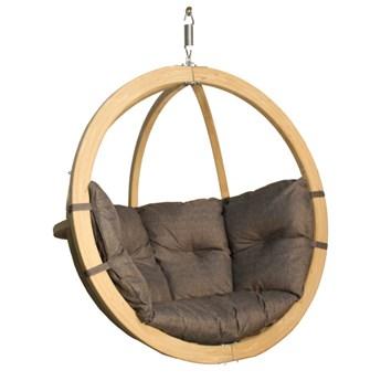 Fotel wiszący drewniany - Bubble Wood Graphite