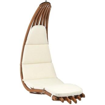 Fotel wiszący drewniany - Leżanka Wave Ecru