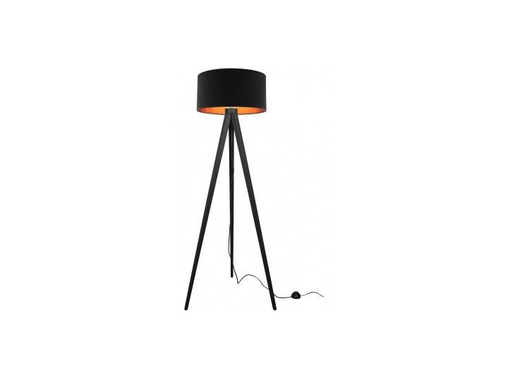 Lampa Stojąca Drewniana Trójnóg Abażur ze Złotym Wnętrzem Lampa z abażurem Lampa sztalugowa Lampa LED Lampa z kloszem Drewno Styl Nowoczesny