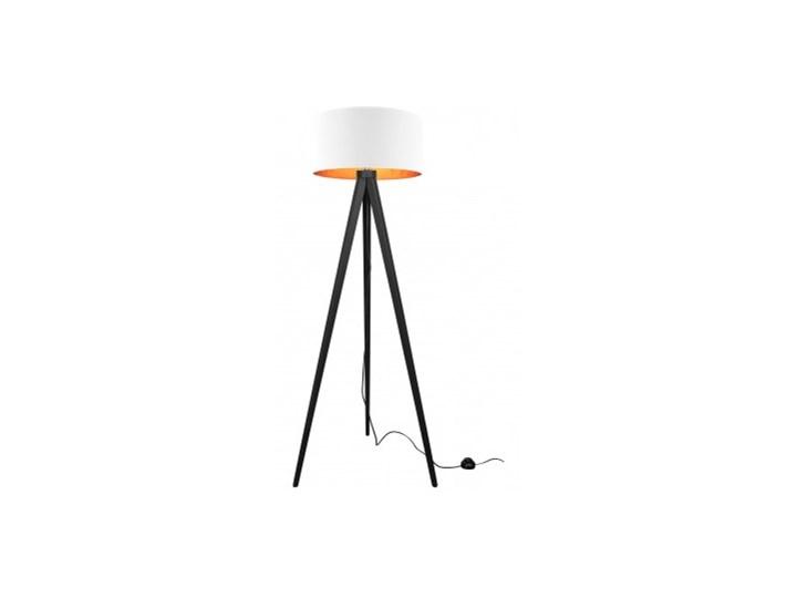Lampa Stojąca Drewniana Trójnóg Abażur ze Złotym Wnętrzem Lampa z abażurem Lampa sztalugowa Drewno Lampa z kloszem Lampa LED Kategoria Lampy podłogowe Styl Nowoczesny