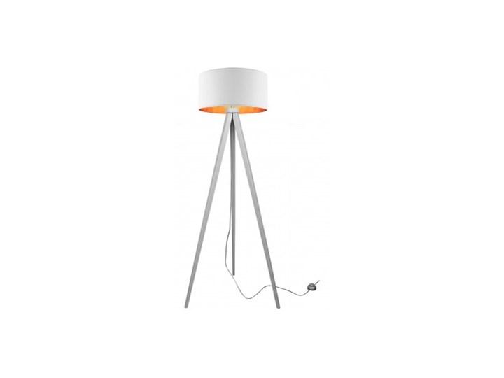 Lampa Stojąca Drewniana Trójnóg Abażur ze Złotym Wnętrzem Lampa z abażurem Lampa z kloszem Lampa LED Drewno Lampa sztalugowa Kategoria Lampy podłogowe