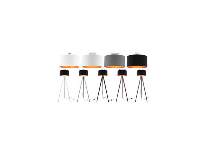 Lampa Stojąca Drewniana Trójnóg Abażur ze Złotym Wnętrzem Lampa z abażurem Lampa LED Drewno Lampa z kloszem Lampa sztalugowa Styl Nowoczesny Kategoria Lampy podłogowe