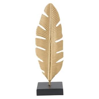 Świecznik dekoracyjny w złotej barwie Mauro Ferretti Feather, wys. 34 cm