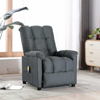 vidaXL Rozkładany fotel masujący, jasnoszary, tapicerowany tkaniną