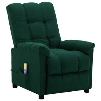 vidaXL Rozkładany fotel masujący, ciemnozielony, tapicerowany tkaniną