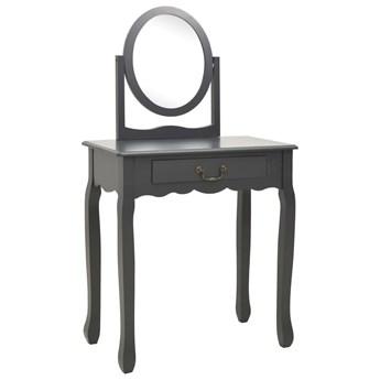 vidaXL Toaletka ze stołkiem, szara, 65x36x128 cm, drewno paulowni, MDF