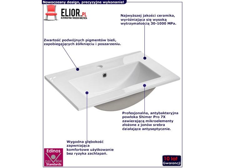 Biała prostokatna ceramiczna umywalka - Ravos 60 cm Kolor Biały Meblowe Kwadratowe Ceramika Kategoria Umywalki