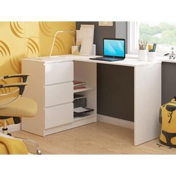 Białe narożne biurko szkolne z szufladami