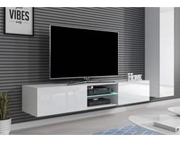 Długa wisząca szafka pod TV 180 cm, komoda RTV biały połysk