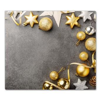 Deska kuchenna Złote Gwiazdki Bombki Święta