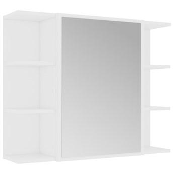 vidaXL Szafka łazienkowa z lustrem, biała, 80 x 20,5 x 64 cm, płyta