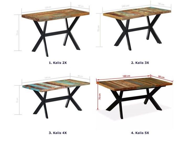 Wielokolorowy stół z drewna odzyskanego – Kalis 3X Długość 70 cm Wysokość 75 cm Drewno Szerokość 70 cm Kształt blatu Prostokątny Długość 140 cm  Kolor Brązowy