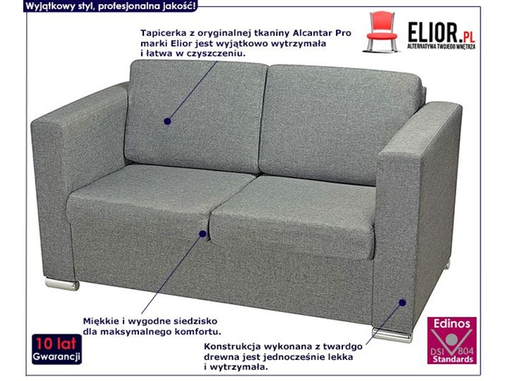 Dwuosobowa jasnoszara sofa loftowa - Sigala 2Q Głębokość 73 cm Materiał obicia Tkanina