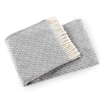 Jasnoszary pled z domieszką bawełny Euromant Agave, 140x180 cm
