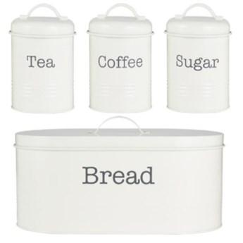chlebak + zestaw pojemników do kuchni 4 elementy, kremowy, Colonna